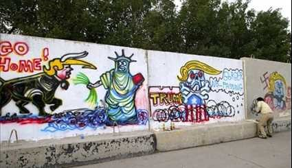 Basra: Iraqi Graffiti Artist Mocking Trump over 'Racist Immigration Ban'