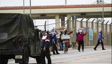 Japanese Protest Against Construction of New US Marine Base in Okinawa