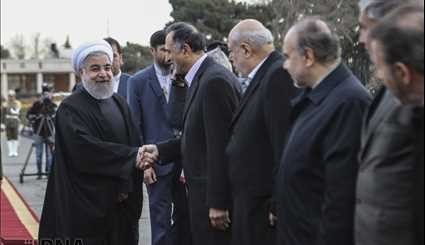 Official farewell to Pres. Rouhani leaving for Oman, Kuwait