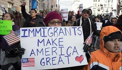 US Immigrants Demonstrate Against Donald Trump's Immigration Policies
