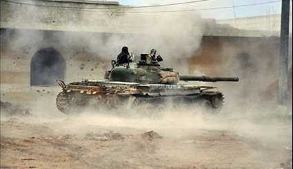 Syrian Army Tanks in Battle with Terrorists, South of Daraa