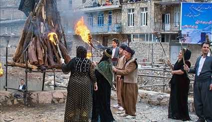 Ancient Ceremony in Iranian Kurdish Village in Celebration of Norooz
