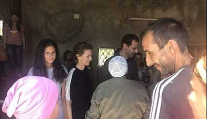 Assad Family Visit War Veteran in Hama