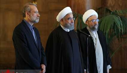 Iranian President, Speaker, Judiciary Chief Discuss New US Sanctions
