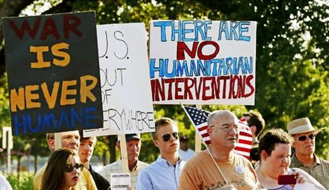 Americans protest US military aid to Syria rebels