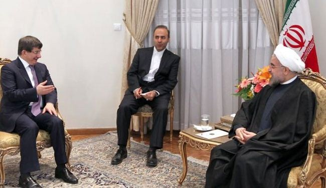 Rouhani, Davutoglu discuss Iran nuclear deal, bilateral ties