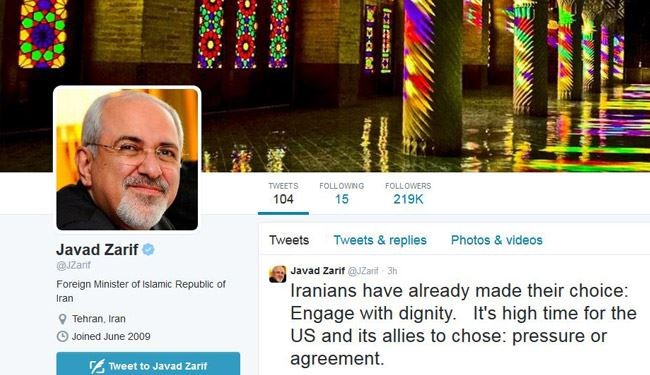 'Iranians Choice is Engage with Dignity' Zarif to Obama