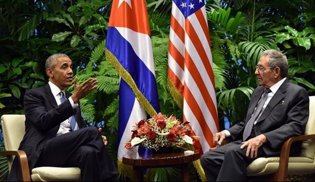 US President Obama Meets Cuban Counterpart Raul Castro in Havana