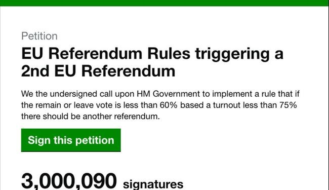 Signatures for UK Brexit Revote Petition Hits 3M in Just 2 Days
