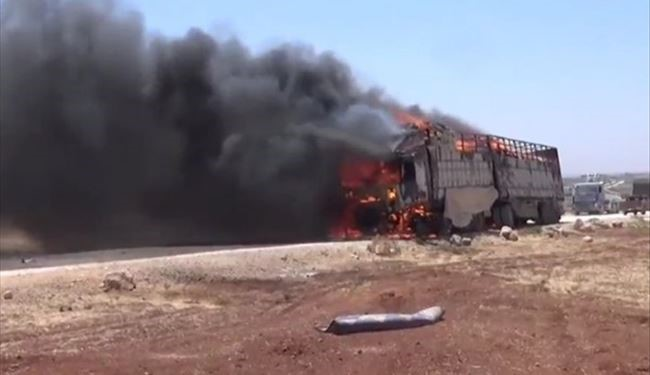 PHOTOS: Big Convoy of Terrorists Destroyed in Airstrike in Aleppo