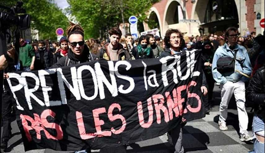 Demonstrators Protest Result of First Round of French Presidential Election