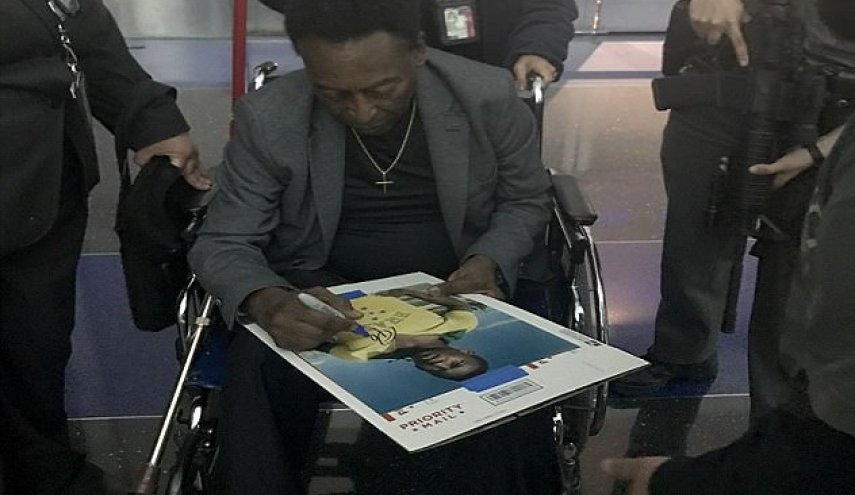 Brazilian 76-year-old legend Pele pictured in a wheelchair