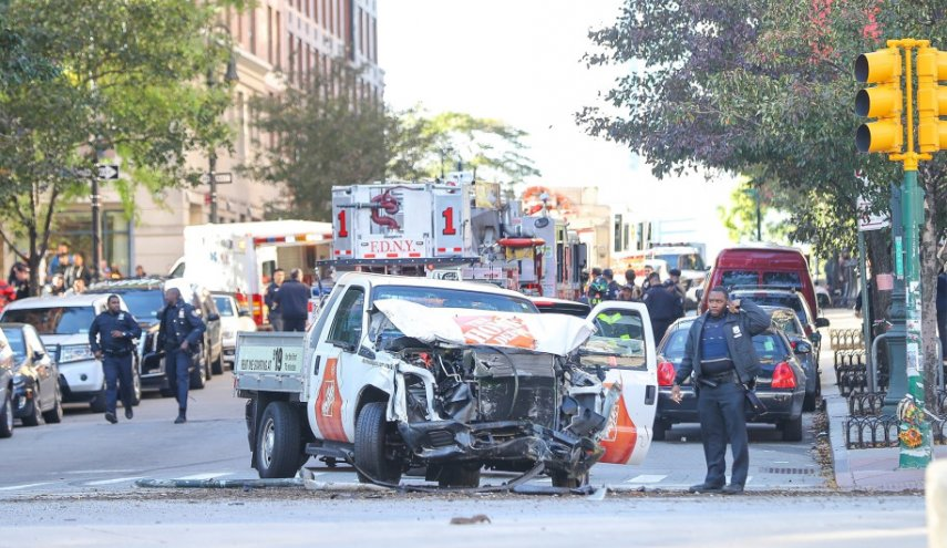 Suspected terrorist truck attack kills eight on New York bike path