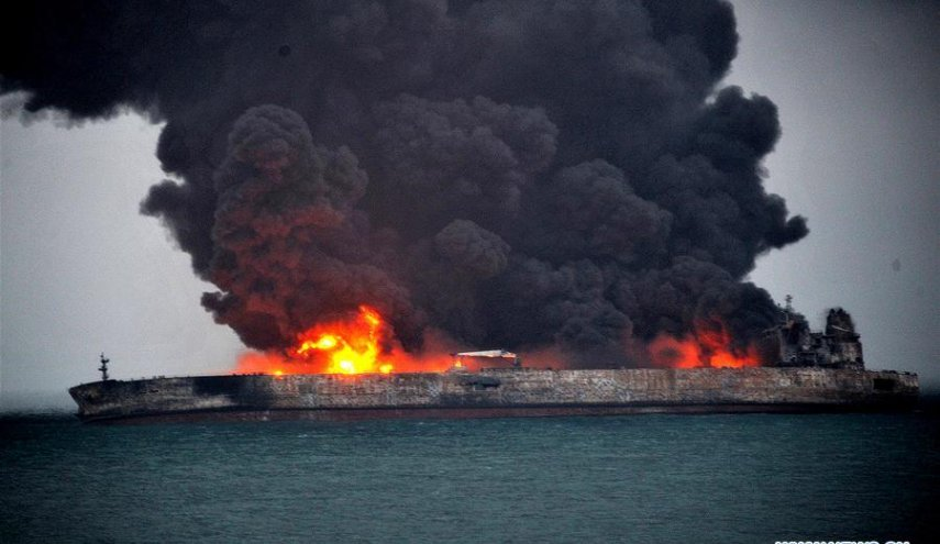 Iranian oil tanker still ablaze as rescuers search for missing mariners