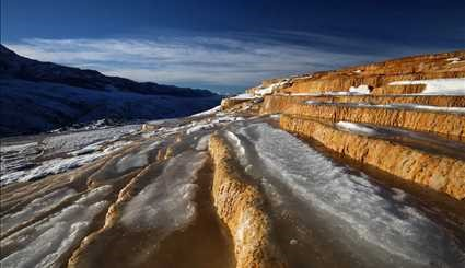 Badab-e Surt stepped travertine terraces