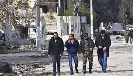 Syrian Army Troops Patrolling in Aleppo