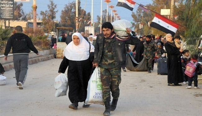 Scence of Syrians return back to al-Moazamiya