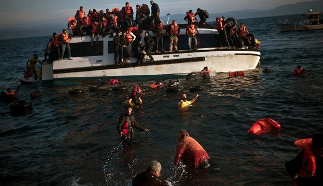 See the Moment Refugee's Boat sinking off the Greek Coast