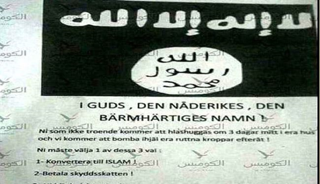 ISIS Threat Notes Posted Across Sweden; You Will be Beheaden if Not Convert