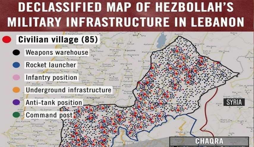 Israeli Army Tweets Fake Map Showing Hezbollah Military Build-up in Lebanon