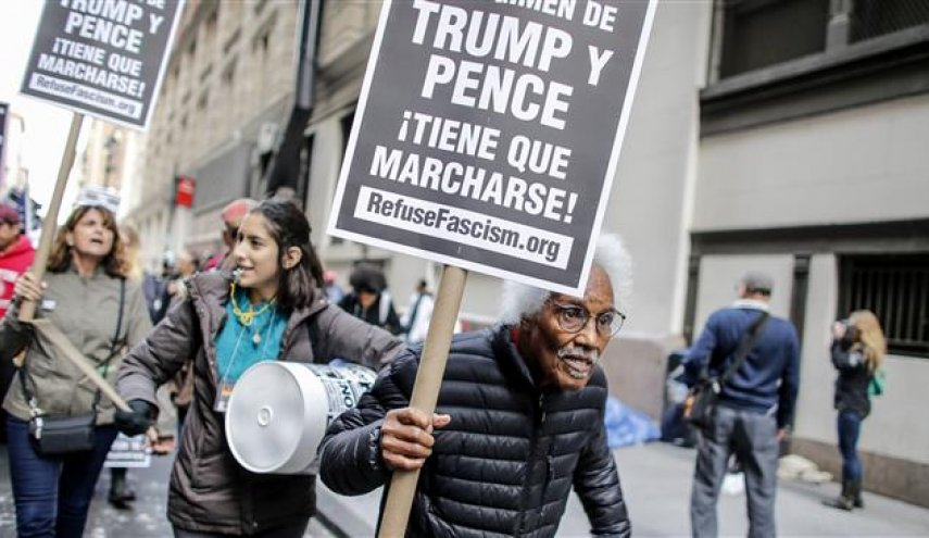 Protesters march through New York City to decry Trump administration