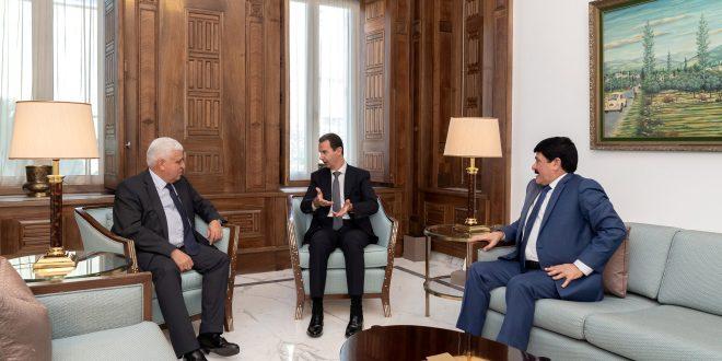 الرئيس الأسد يلتقي رئيس هيئة الحشد الشعبي